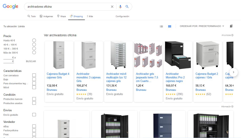 Productos en la pestaña de Google Shopping