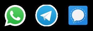 Logos WhatsApp, Telegram y Signal